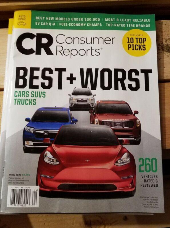 CONSUMER REPORTS MAGAZINE APRIL 2020  BEST & WORST  CARS, SUVS AND TRUCKS