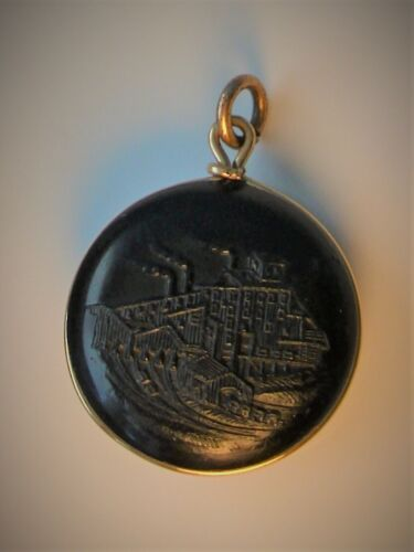 ❤ Antique COAL MINE Pendant or Watch FOB Made of Coal & Silver or Gem NUGGETS ?