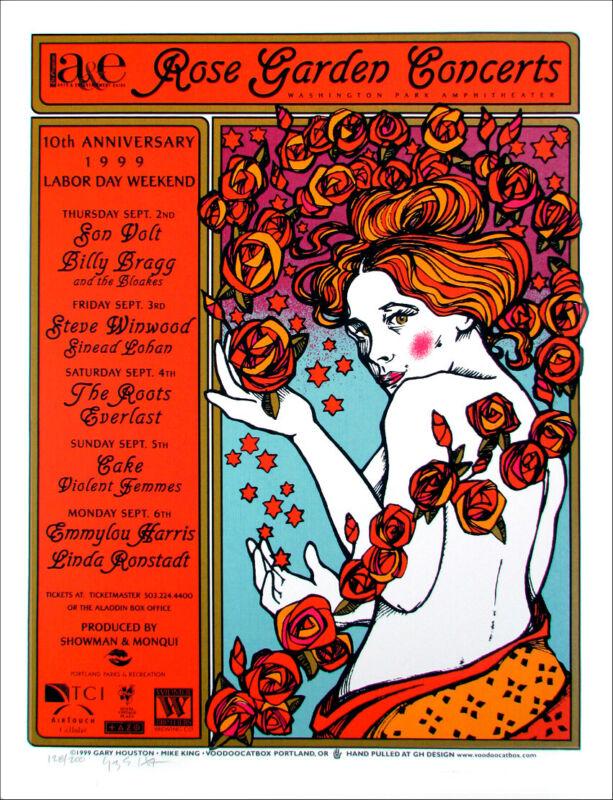 Emmylou Ronstadt Winwood Poster Rose Garden Concerts 1999 Gary Houston S/N/COA