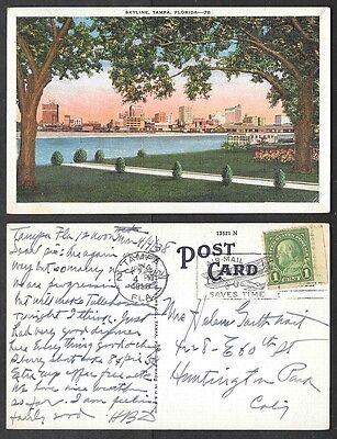1938 Florida Postcard - Tampa - Skyline