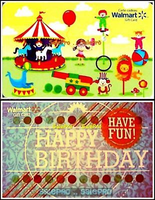 Carnival Gift Card (2x WALMART USA ENGLISH HAPPY BIRTHDAY & CIRCUS IN TOWN COLLECTIBLE GIFT CARD)