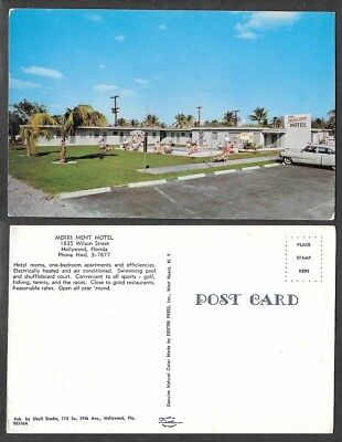 Old Florida Postcard - Hollywood - Merri Ment Motel, Hotel