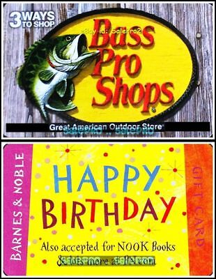 2x BARNES & NOBLE BOOKS HAPPY BIRTHDAY FISH BASS PRO COLLECTIBLE GIFT CARD LOT ()