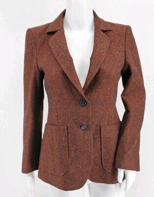 Jo No Fui 2-Button Notch Lapel Blazer Orange Speckled Multicolor Women's Size 42