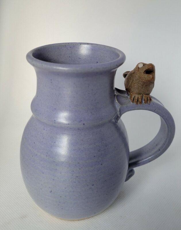 Signed Art Pottery Mug With Bird Whistle