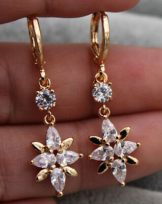 18K Yellow Gold Fille   1 4 Teardrop Flower Topaz Zircon Dangle Hoop Earrings