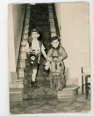 Boys in vintage Halloween costumes. Cowboy / Pirate    Vintage snapshot photo (Boys In Halloween Costumes)