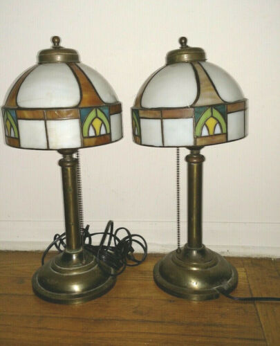 NICE PAIR ANTIQUE  ARTS AND CRAFTS SLAG SHADES LAMPS