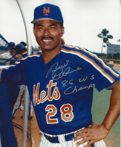 1986 New York Mets Bill Robinson autographed 8x10  photo 86 WS Champs added
