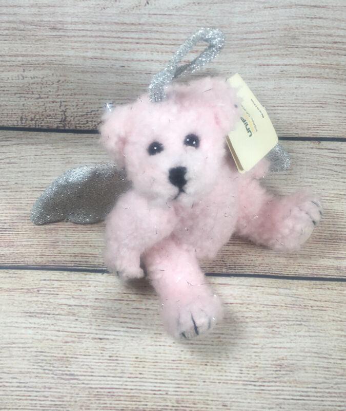"Vtg Unipak Pink Angel Teddy Bear Plush Stuffed Animal Silver Glitter Wings 7"""