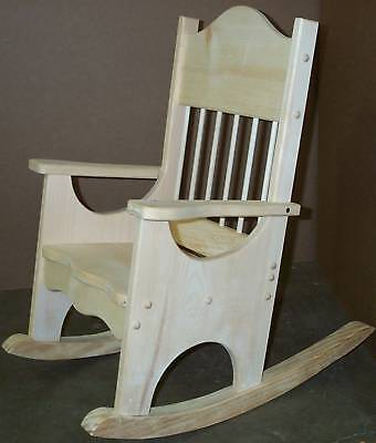 Child's Facncy Rocking Chair Unfinish Pine Wood Rocker with dowels boys & girls