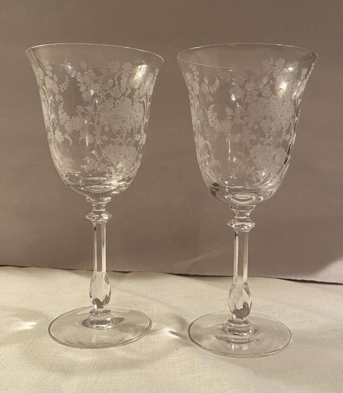 ELEGANT Set of 2 Vintage TIFFIN ROSE Etched Stem Tall Crystal Water Wine GOBLETS