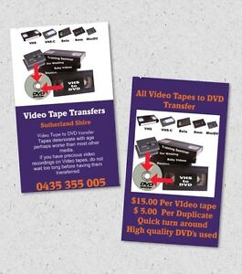 TRANSFER VHS BETA VHS.C 8MM MINI DV to DVD USB SUTHERLAND SHIRE Caringbah Sutherland Area Preview
