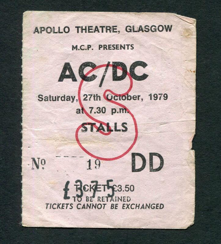 1979 AC/DC Bon Scott concert ticket stub Glasgow Scotland UK Highway To Hell