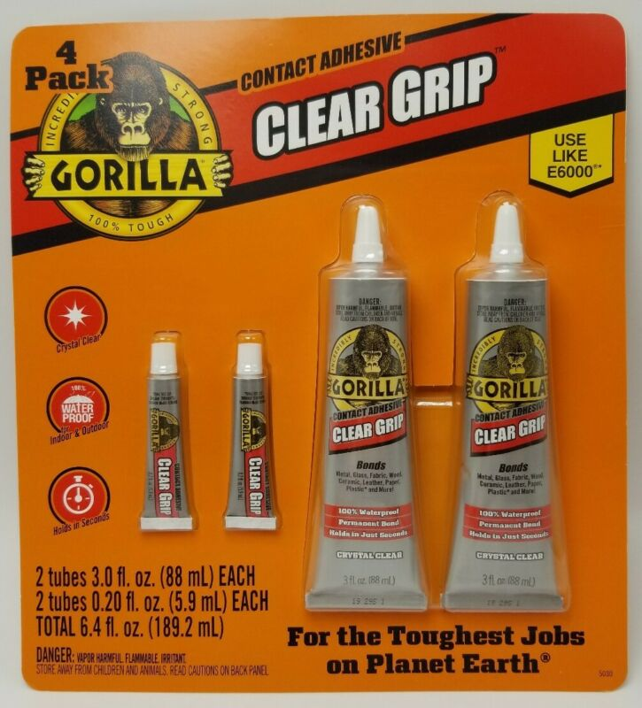4 Pack Gorilla Clear Grip Contact Adhesive 3oz .2oz Waterproof Permanent Strong