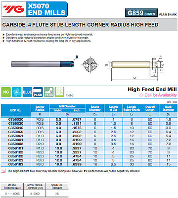 10mm Long 4FL 1mm Radius YG1 X5070 Blue HiFeed End Mill for HRc70 Hardened Steel