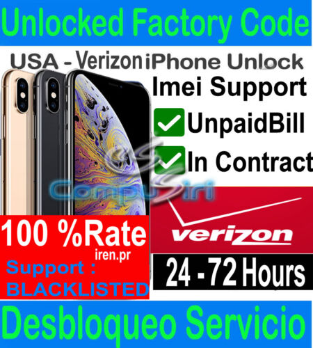 Verizon FACTORY UNLOCK SERVICE IPhone XS XS MAX XR X 8 7 IPHONE 12 11 MAX PRO