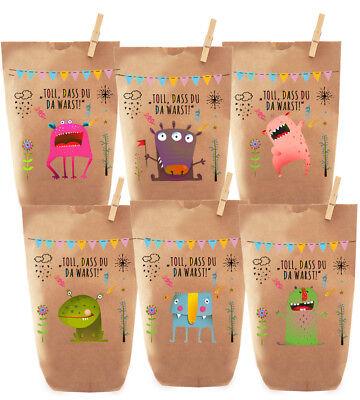 6x bunte Monster Geschenktüten Gastgeschenke für Kinder Geburtstage & Hochzeiten Geschenktüten Für Kinder