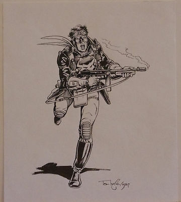 TOM LYLE original art, SKYWOLF in battle gear, 9x10.5, 1987, more art in store