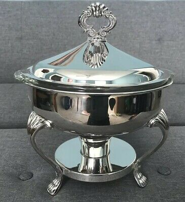Vintage F.B.Rogers Silver Plated Warmer Stand With Fire King Casserole Dish, used for sale  Easton