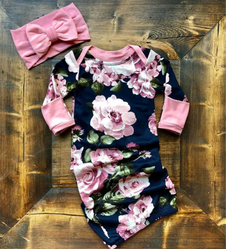 US Stock Baby Girls Newborn Swaddle Long Sleeve Outfits Romp