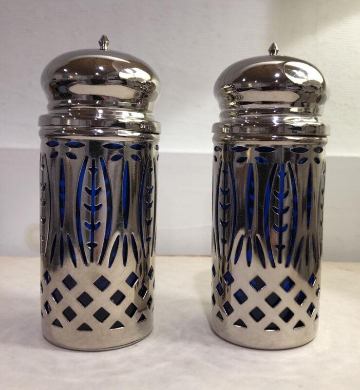 Vintage MCM Art Deco Design Silver and Cobalt Blue Glass Salt & Pepper Shakers