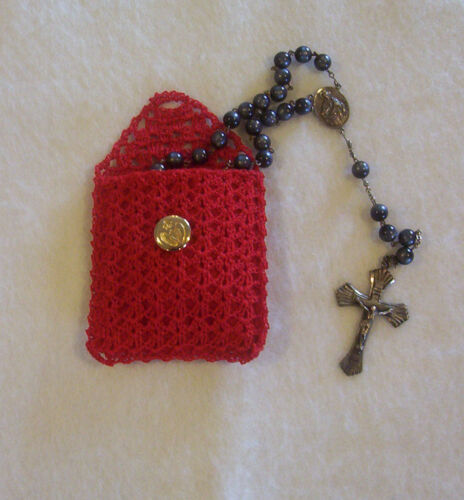 Crochet Red with Red Lining Buttoned Rosary Jewelry Pouch Case