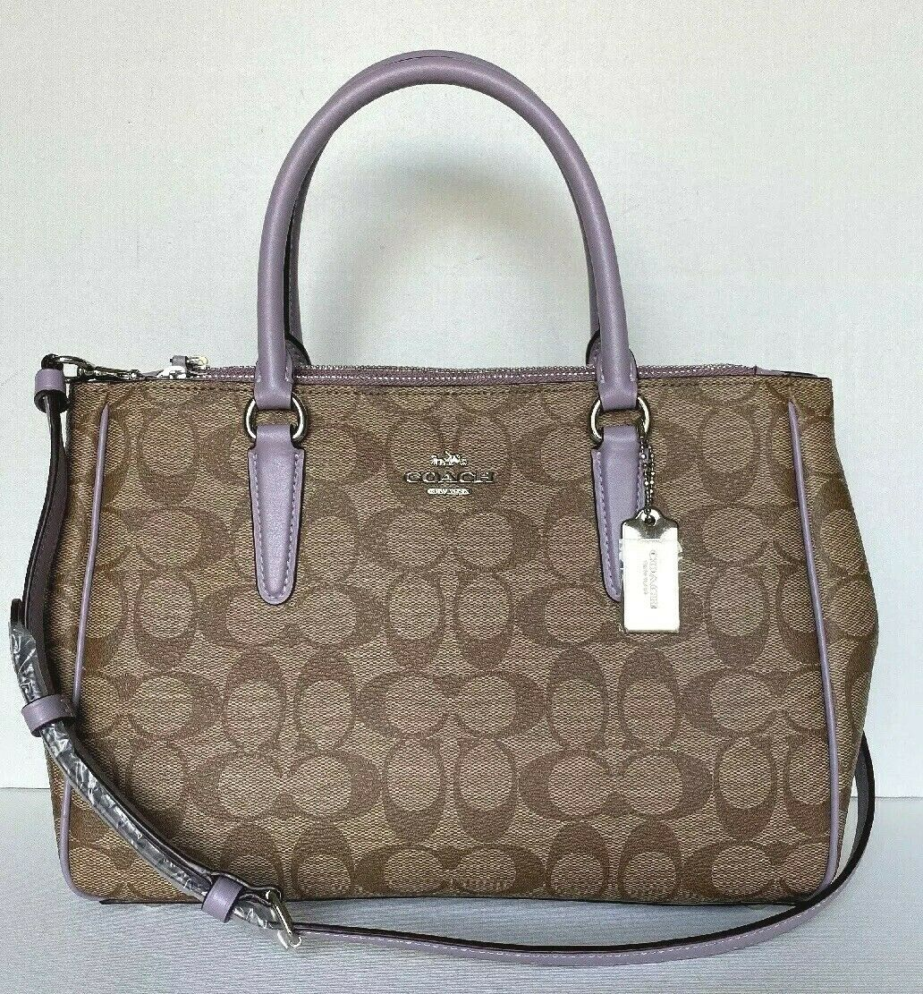 New Coach 67026 Surrey Carryall Coated Canvas with Leather h