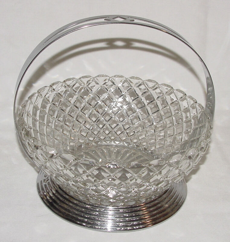 "VINTAGE Deco Depression Glass ""WATERFORD WAFFLE"" Large Bowl & Caddy!!"