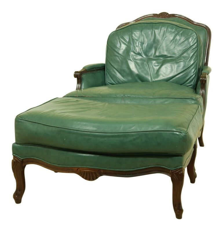 F51796EC: Green Leather French Style Bergere Chair & Ottoman