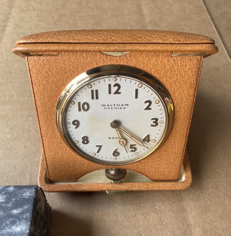 Antique Waltham Premier Folding Travel Car Auto Clock 8 Day