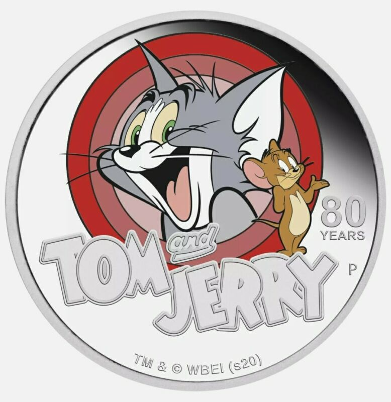 2020 1 Oz PROOF Silver $1 Tuvalu 80TH ANNIVERSARY OF TOM & JERRY Colorized Coin.