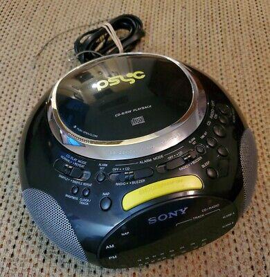Sony ICF-CD832 Black Yellow FM/AM CD Player Alarm Clock Radio Psyc