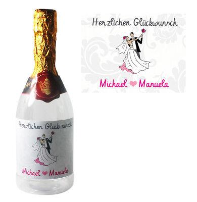 Flasche zum befüllen zur Hochzeit mit Namen als Geschenkidee  ()