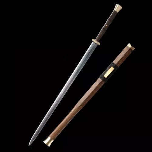 Handmade Rosewood Chinese Sword Han Jian Long Damascus Folded Steel Blade Sharp