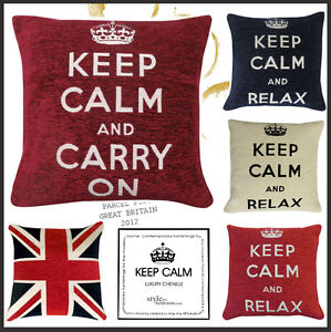 KEEP-CALM-CARRY-ON-RELAX-Chenille-Filled-Cushions-or-Cushion-Covers-18-45cm