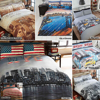 New York City Skyline American Themed Reversible Bedding Duvet Quilt Cover Set