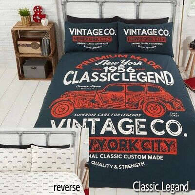 Classic Car Vintage American New York Reversible Duvet Quilt Cover Bedding Set