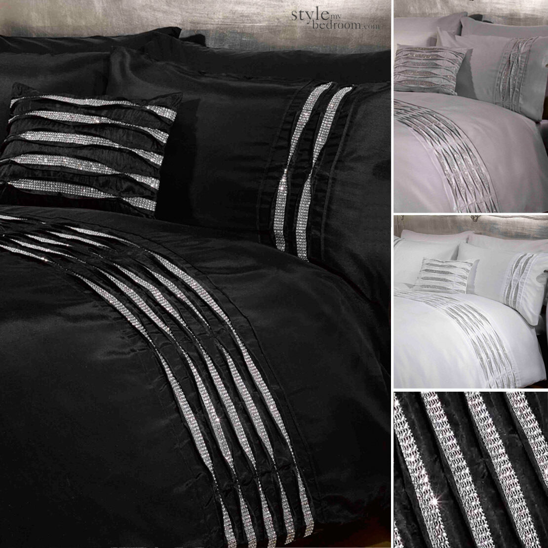 Crystal Diamante Detail Duvet Quilt Cover Bedding Set