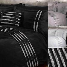 Crystal Diamante Detail Duvet Quilt Cover Bedding Set - White, Silver or Black