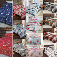 100% Brushed Cotton Flannelette Reversible Duvet Quilt Cover Bedding in 4 Sizes