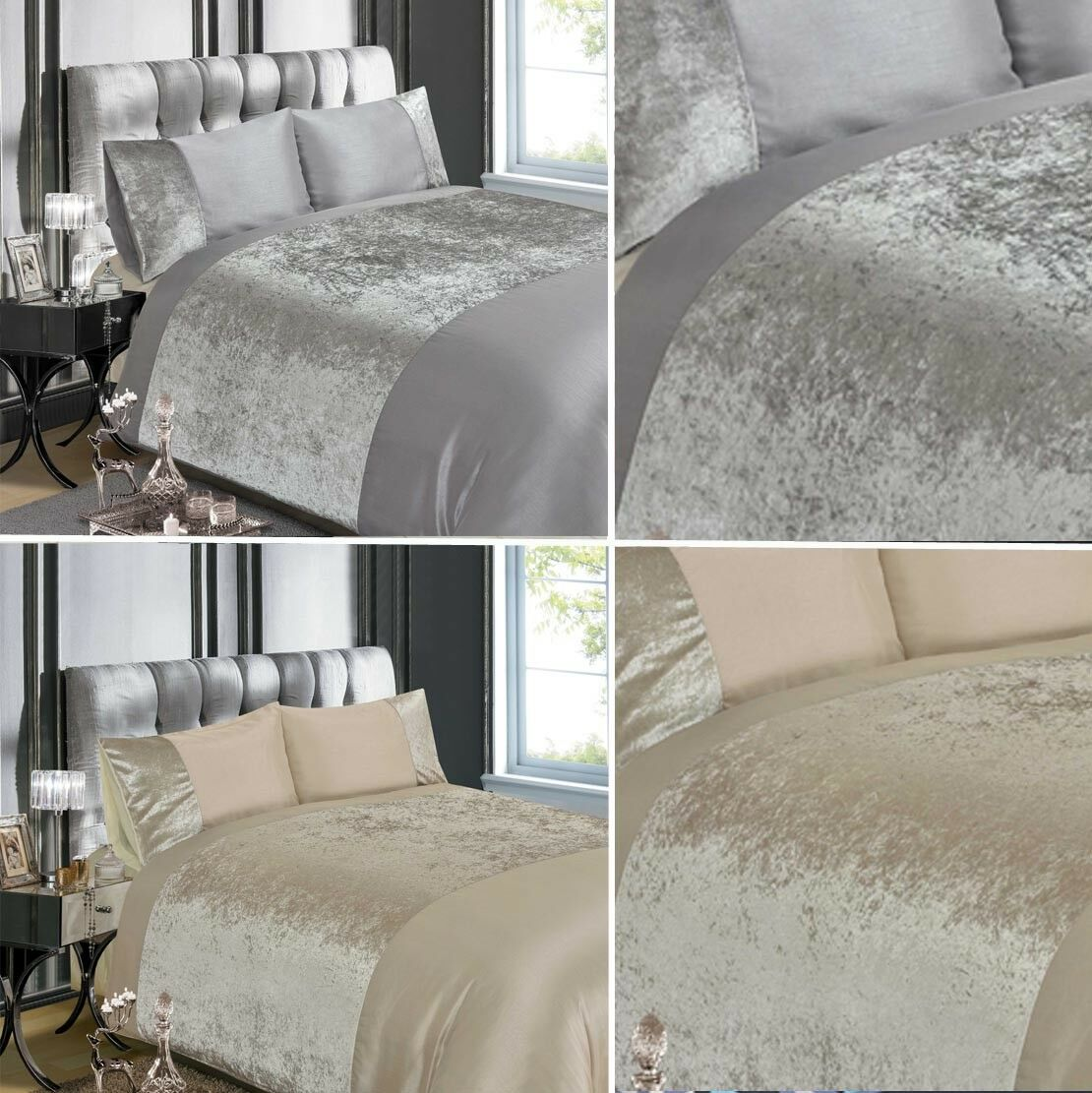 Luxury Crushed Velvet Silver Grey Or Champagne Duvet Quilt
