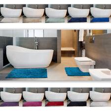 100% Cotton Chenille Shaggy 2 Piece Bathroom Mat & Pedestal Mat Set / Bath Rug