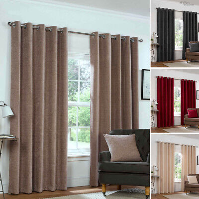 (Eyelet Ring Top CHENILLE PLAIN HEAVY LINED Woven Pair of Curtains in 4 Colours)