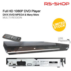 MULTI REGION HDMI 1080p DIVX XVID MPEG4 UPSCALING DVD PLAYER with USB PLAYBACK