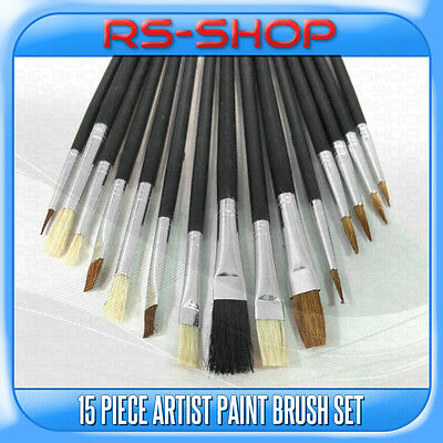 15 Piece Artist Brushes Paint Brush Set Flat & Tipped Different Size and Length