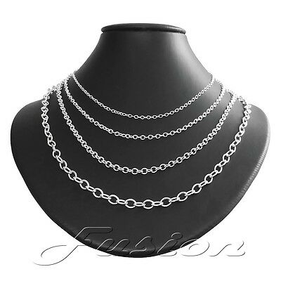 Solid Sterling 925 Silver Strong Trace Cable Chain Necklace