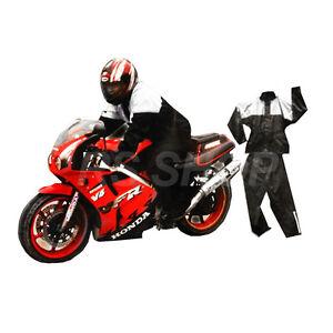 Motorcycle Bike Rain Suit Set Waterproof Rainwear 2 Piece Coat Trouser Size L