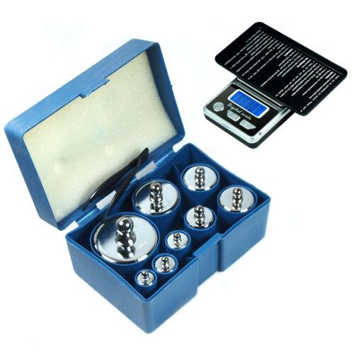 8 PCS 1000g 1kg Calibration Weight Set w/ HB-02 500g x 0.1g Digital Pocket Scale