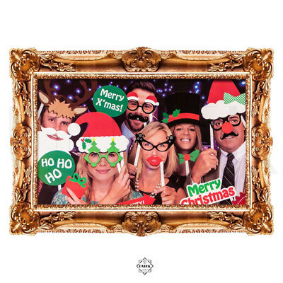 Christmas Photo Booth Picture Frame & Props - Mustache, Glasses & Hats on Stick ()
